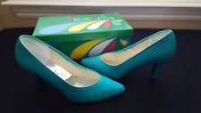 "Peacocks Aqua Green Teal High Heel Shoes 3"" Pumps Prom Bridal Shoes Size 8"