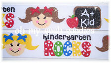 1.5 GLITTER KINDERGARTEN ROCKS BACK 2 SCHOOL GIRL GROSGRAIN RIBBON 4 HAIRBOW BOW