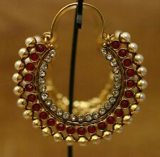 New Bollywood Ring Bali Jhumki Drop Down Pearl Moti Ruby Color Stone Earring