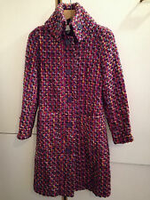 Gorgeous CACHAREL vtg 40s style wool/cotton weave dogtooth COAT UK 10 US 6