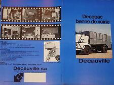 brochure CAMIONS BENNES DECAUVILLE VOIRIE HYDRAULIQUE / COULEURS FRANCAIS