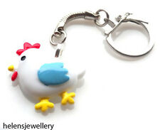 GORGEOUS HANDMADE CUTE COCKEREL CHICKEN KEYRING + FREE GIFT BAG