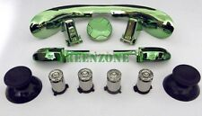 Custom Xbox 360 Controller Silver Bullet Buttons + GREEN Chrome Mod Kit