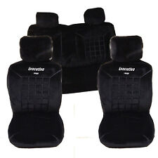 Universal Black Cloth Car Seat Cover Thick Heavy Duty Air Bag Front and Back