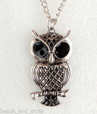 Antique cute silver owl chain pendant locket fashion jewelry necklace