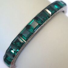 Vtg Art Deco Sterling Silver Channel Set Paste Glass Emerald Green Bangle Bracel