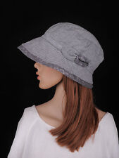 M420 Grey Flower Women's Round Brim Cotton Cap Summer Beach Sun Hat Bucket