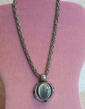 SIGNED CHICOS NECKLACE Abalone Paua Shell Pendant LARGE CHUNKY SILVER CHAIN  #48