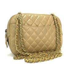 Authentic CHANEL Quilted Matelasse Beige Lambskin w/Chain Shoulder Bag / 2938y