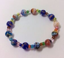 Pretty Stretch Handmade OOAK Italian Millefiori Glass Bead Bracelet Flowers UK