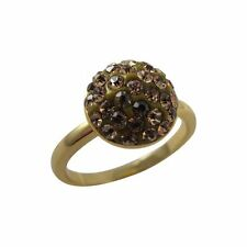 Champagne Shamballa Inspired Crystal Sterling Silver Gold Plated Ring (5)