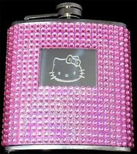 Hello Kitty PINK Bead Bling Stainless Steel 6oz Hip Flask Biker Liquor FEN-0007