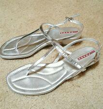 PRADA SPORT Silver Metallic Leather T Strap Thong Sandal Wedges Size 36/6