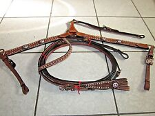 Showman Double Stitched Leather Headstall and Breast collar Crystal Rhinestones