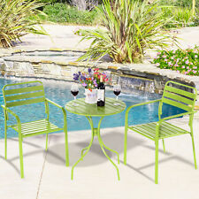 COSTWAY 3PC Bistro Table Chair Furniture Set Table Patio Steel Bright Green