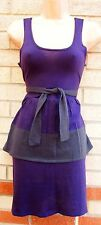 B-SOUL PURPLE PEPLUM BELTED BODYCON TUBE PENCIL WARM WINTER JUMPER  DRESS M 12
