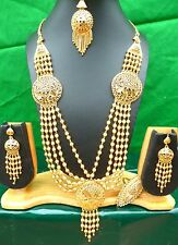 "Indian 22k Gold Plated 11"" Long Wedding Bridal Necklace Earrings Tikka Set e"