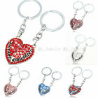 2PCS Mother Daughter Love Heart Charm Crystal Key Chain Keyring Family Gifts New