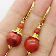 Handmade Red Coral Round Gemstone Yellow Gold Plated Hook Dangle Earrings