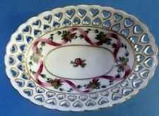 Pretty Meissen  Hand Painted Bowl Pierced Hearts Continental Porcelain