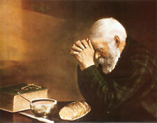Handmade Oil Painting repro on Canvas Grace, Daily Bread Old Man Praying 16x20