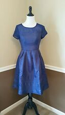 Modcloth $140 Geode M Navy Blue Flare Dress Short Sleeve Pose Retro 50's Pockets