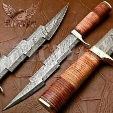 CUSTOM HAND MADE DAMASCUS STEEL HUNTING DAGGER KNIFE HANDLE STACKED LEATHER