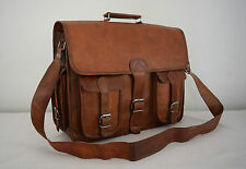 "16x12"" Real Leather Office Briefcase Macbook Laptop Satchel Padded Messenger Bag"