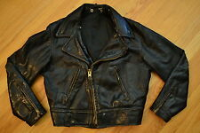 Vintage Distressed CAL Leather HORSEHIDE Leather CHP Motorcycle Jacket Size 40