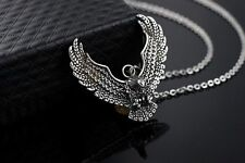 Mens Stainless Steel Silver American Eagle Pendant Link Chain Necklace +Box NE52