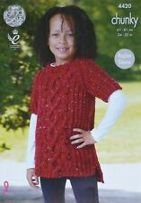 KNITTING PATTERN Childrens Short Sleeve Round Neck Cable Tunic Chunky KC 4420