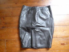 KATE MOSS BLACK  PENCIL LEATHER SKIRT & LONG BACK  ZIP 8-10 TOPSHOP