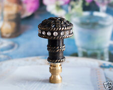 "1 of Dark Bronze Metal with Crystal Lamp Shade Finial Topper 3"" Tall"