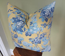 Decorative Pillow Cover Floral Patterns Blue & Yellow Toss Pillow Accent Pillow