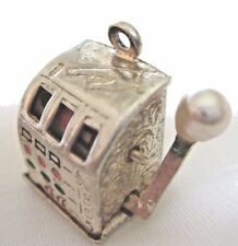 Vintage .925 Sterling Silver Moving Slot Machine Charm  -   4.4 grams