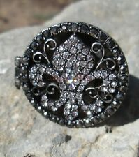 Black Crystal Fleur De Lis Locket Poison Ring Silver Gothic Victorian Secret