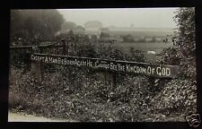 Glass Magic Lantern Slide SIGN - EXCEPT A MAN BE BORN AGAIN HE CANNOT ... C1910