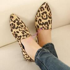 New Fashion Womens Ladies Leopard Ballet Pointy Toe Flat Heel Shoes Apricot US 7