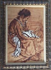 Original Oil On Paper Painting Of Mother And Child. Signed M. Blackwell 1965