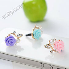 Mobile Phone Anti Dust Plug Rose Charm Earphone 3.5mm Jack Ideal Gift
