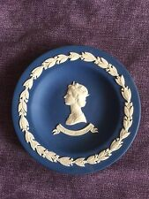 WEDGWOOD DARK BLUE  PIN DISH PLATE QUEENS SILVER JUBILEE