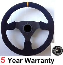 SUEDE 330MM DRIFT RALLY STEERING WHEEL FIT FORD CAPRI MK1 MK2 CORTINA ESCORT NEW