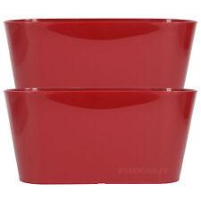 Set di 2 Rosso Ovale Indoor Plant POT copre FIORIERE ERBA Vasche Da Finestra Scatole