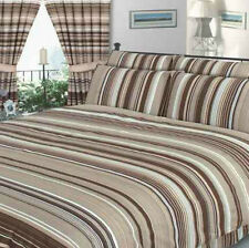 DOUBLE BED DUVET COVER SET STRIPED NATURAL LINEN BROWN BEIGE LATTE BEDDING
