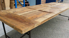NEW FRENCH INDUSTRIAL RECYCLED VINTAGE RUSTIC TIMBER TRESTLE DINING TABLE - 2M