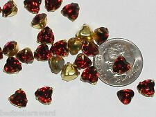 10pc Sparkly Red Swarovski Crystal Hearts wholesale flat back brass rhinestones