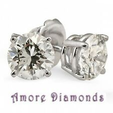 1.03 ct G SI1 hearts & arrows natural round diamond stud earrings 18k white gold