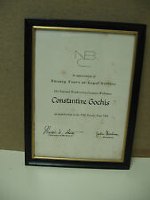 Rare Vintage Emmy Award Winner 1968- 20th Year Service Award Plaque From NBC