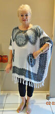 New White and Black  Sequined Kaftan Top Casual or dressy plus size 24-34