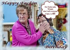 Personalised birthday card mrs Browns boys father son wife husband friend c